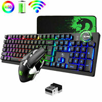 US Rechargeable Gaming Wireless Keyboard Mouse Sets Rainbow RGB Backlit 4800mAh