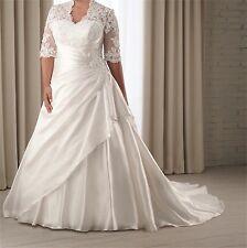 Half Sleeve Lace Wedding Dress Bridal Gown Custom Plus Size14 16 18 20 22 24 26