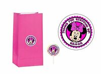 40 Minnie Mouse 2 inch Sticker Party Bag Tag Favor Lollipop Personalize HOT PINK
