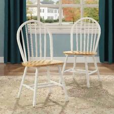 Solid Wood Dining Chairs Set of 2 Farmhouse White Home Kitchen Seating Furniture