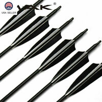 "US 6Pcs 32"" Archery 8mm Mixed Carbon Arrows SP550 W Real Feathers F Recurve Bow"