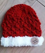 Hand  Knitted Baby 🎅Santa Beanie Hat 0-6 MTHS