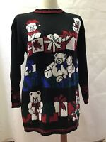 Ugly Christmas Sweater Black Long Sleeve Sz M Teddy Bears Gifts Holiday Party