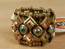 Fossil Crystal Stretch Ring Goldtone Multicolor New! NWT