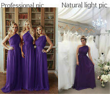 One Shoulder Chiffon Bridesmaid Wedding Dresses Gown Prom Evening Maxi Plus Size
