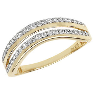 9CT GOLD RING  WISHBONE ETERNITY 0.25CT  WEDDING  BAND O  9 CARAT YELLOW GOLD