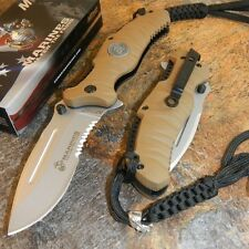 USMC MARINES TAN Serrated MILITARY TACTICAL Folding Pocket Blade Knife NEW