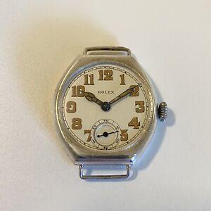 Antique Vintage ROLEX Sterling Silver Tonneau Men's Military Watch 15J Swiss W&D