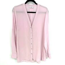 Vince Size Medium Solid Pink Long Sleeve Tunic Button Front 100% Silk Blouse