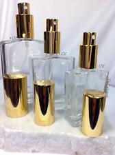 EMPTY FLAT SHAPED REFILLABLE GLASS PERFUME BOTTLES SPRAY ATOMIZER 1 OZ/ 2OZ/ 4OZ