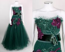 ZUHAIR MURAD EMERALD GREEN PURPLE TULLE STRAPLESS EMBELLISHED BALL GOWN SZ 6