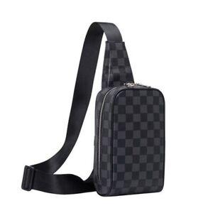Men's Shoulder Travel Bag Leather Crossbody Backpack bag Plaid Sling Chest Pack
