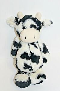 "Jellycat Bashful Calf Cow Plush Black White 12"" Soft Toy Medium Stuffed Animal"