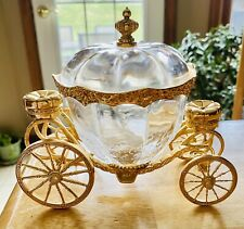 Franklin Mint Cinderella Crystal Gold Plated Coach w/Lid Disney Carriage Bowl