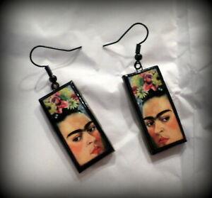 Frida Kahlo 2 Earrings Handmade Polymer Clay
