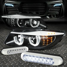 BLACK HALO PROJECTOR HEADLIGHT+CORNER+8 LED GRILL FOG LAMPS FOR 06-08 BMW E90