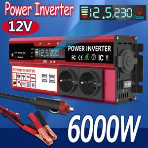 Spannungswandler 6000W Sinus Wechselrichter Inverter 12V auf 230V KFZ Auto Solar