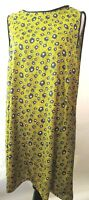 ZARA  Yellow Black Color Polka -Dot   Print Sleeveless  Dress Size    L
