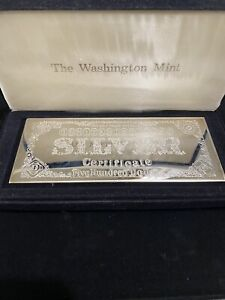 Washington Mint 8 oz Silver Certificate Half Pound Bar 'Very Rare'