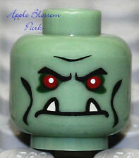 NEW Lego Sand Green MINIFIG HEAD Red Eye Castle Troll -Halloween Monster w/Fangs