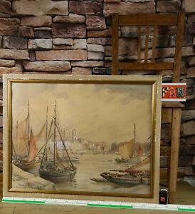 Hans Meinke 1907-1988 Aquarell La Rochelle Fischerhafen Kronberger Malerkolonie