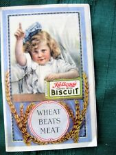 """KELLOGG'S BISCUIT"" early cereal advertising folder w/girl circa early 1900's"