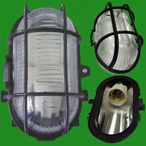 2x Outdoor Oval Black IP44 60W Bulkhead, Patio, Garden, Wall Lamp Security Light