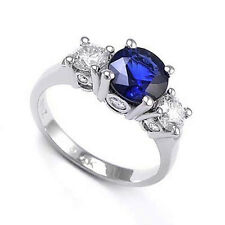 18k White Gold Sapphire Diamond Three Stone Lucida Ring #R1216