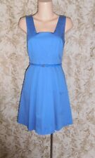 PORTMANS Sz 8 blue stretch cotton sateen pleated sleeveless Dress As New
