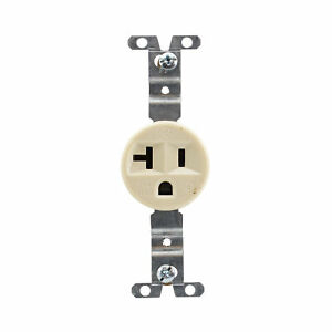 GE GE4147-2 SINGLE GROUNDING RECEPTACLE 20A 125V, IVORY (10 PACK)