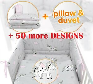 UNICORN - NURSERY- BABY BEDDING SET-BUMPER-PILLOW-QUILT COVERS fit Cot/COT Bed