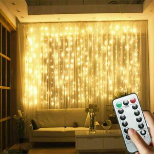3x3M 300LED Curtain Fairy String Light Garden Chrismas Party Twinkle Lights