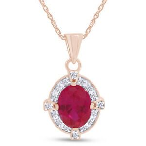 Estate 2.25ct Oval Cut Ruby With Diamond 14K Solid Rose Gold Necklace