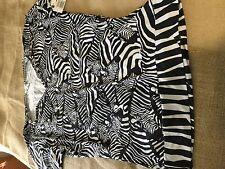 TRINA TURK Womens Small  Black White Zebra Swimsuit Cover Tunic Shirt Dolman NWT