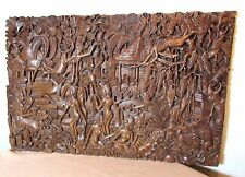 ornate hand carved wood figural Balinese Bali relief wall sculpture panel art