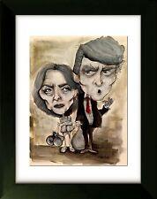 ART - Hillary Clinton & Donald Trump - Limited Edition - Art by SLAZO - 16x20