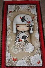 Japanese Kokeshi Doll & Flowers Quilt Panel Fabric Yoriko Kokeshi