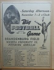 1936 full page ad for football game Pittsburg KS Gorillas vs. Wichita University