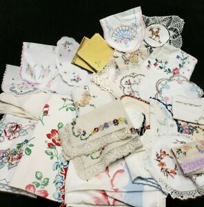34 Vintage Tablecloth Runner Doily Scarf Embroidery Linen Doily Craft Mixed LOT
