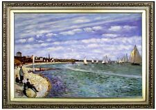 Framed Hand Painted Oil Painting Repro Monet Regatta Sainte-Adresse 24x36in