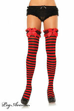 Sexy Striped Stockings Black Red Hold Ups Opaque Satin Bow Halloween Leg Avenue