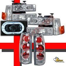 94-98 Chevy CK C10 Silverado Tahoe Suburban Halo Headlights Set + Tail Lights