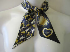 """COACH SIGNATURE BLUE/GOLD SCRIPT/""""HEARTS"""" NEW YORK PONY TAIL SCARF NEW TAG"""