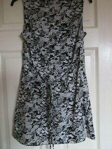 Dorothy Perkins floral sleeveless dress UK10 ladies black beige frock 100% cotto