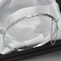 Vintage Solid 925 Sterling Silver Diamond Cut Design Hinged Bangle Bracelet