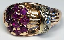 Retro 1970s 14K Rose Gold With 5 Diamonds and 10 Rubies Ring Size 8