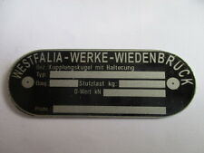 Typenschild AHK Kupplung Anhängerkupplung westfalia oldtimer s31 kupplungskugel