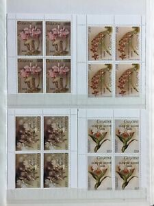 TCStamps 12X pages of Guyana ORCHID FLOWER Postage Stamps +Souvenir SHEETS #384