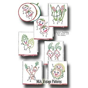 Vintage Dancing Vegetables Anthropomorphic Embroidery Pattern