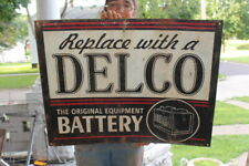 """Large Delco Battery Car Batteries Chevrolet Gas Station 31"""" Metal Sign"""